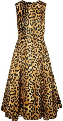 ADAM by Adam Lippes Flared Leopard-print Duchesse-satin Dress