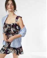 Express floral ruffle strap cami dress