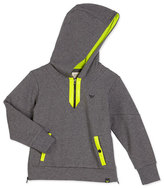 Armani Junior Hooded Half-Zip Contrast-Trim Sweatshirt, Gray, Size 4-12