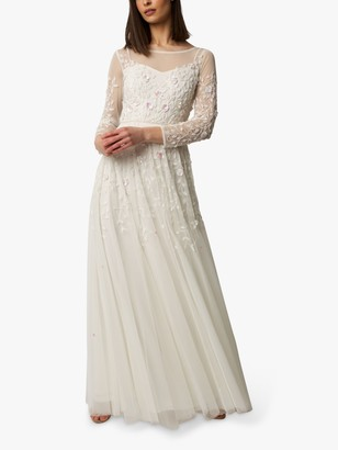 Raishma Floral Embroidered Sheer Sleeve Dress, Ivory