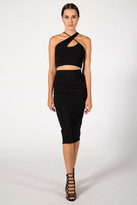 Donna Mizani Back Slit Midi Skirt