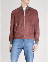 Brunello Cucinelli Ribbed-trims suede bomber jacket