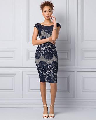 Le Château Lace & Mesh Scoop Neck Shift Dress