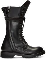 Rick Owens Black Double Zip Lace-Up Boots