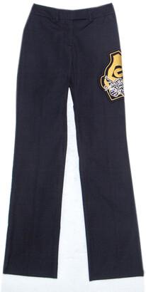 Gianfranco Ferre GF Navy Blue Cotton Crest Applique Detail Straight Fit Trousers S