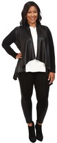 Karen Kane Plus Plus Size Faux Leather Front Knit Jacket