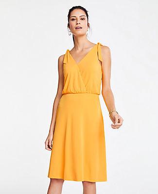 Ann Taylor Petite Matte Jersey Shoulder Tie Flare Dress