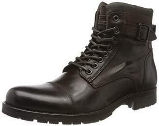 Jack and Jones Men's Jfwalbany Leather Biker Boots, Brown (Coffee Bean Coffee Bean)