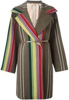 No.21 vertical stripes mid-length coat
