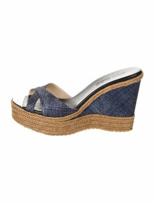 Jimmy Choo Animal Print Braided Accents Espadrilles Blue