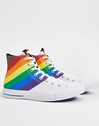 Converse chuck taylor all star hi white and rainbow trainers
