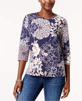 Alfred Dunner Gypsy Moon Embellished Cutout T-Shirt