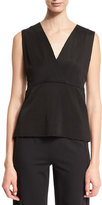 Donna Karan Sleeveless V-Neck Peplum Top, Black