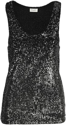 Saint Laurent Sequins Sleeveless Top