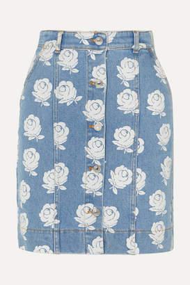 Kenzo Floral-print Denim Mini Skirt - Light denim