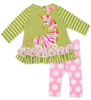 Rare Editions Baby Girls 2-Pc. Zebra Tunic & Dot-Print Leggings Set