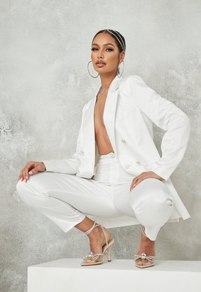Missguided White Co Ord Satin Diamante Button Blazer