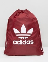 adidas Trefoil Gym Sack In Burgundy BK6728