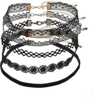 SO Silver & Gold Tone Black Lace Choker Necklace Set
