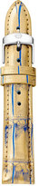 Michele 16mm Alligator Watch Strap, Aqua Blue/Gold