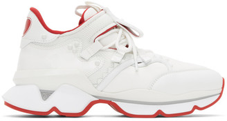 Christian Louboutin White and Red Runner Flat Sneakers