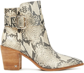 Sam Edelman Leonia Snake-effect Leather Ankle Boots