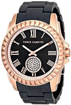 Vince Camuto Women's VC/5190RGBK Swarovski Crystal Accented Rose Gold-Tone and Matte Black Ceramic Bracelet Watch