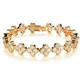 Tiffinys Jewelry Women's 10k -Plated Clover Zircon Diamond Bangle Bracelets