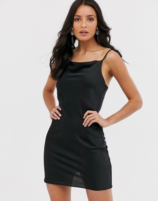 Miss Selfridge slip dress with tie shoulders in black