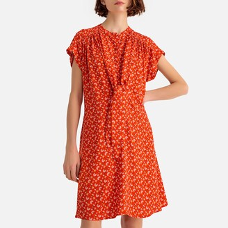 La Redoute Collections Floral Print Draping Tie-Front Dress
