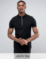 Asos TALL Zip Neck Pique Polo Shirt