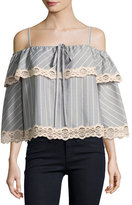 Jonathan Simkhai Bold Stripe Poplin Off-the-Shoulder Blouse, Gray