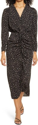 Chi Chi London Natasa Abstract Dot Ruched Faux Wrap Dress