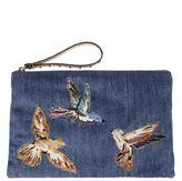 RED Valentino Embroidered Bird Denim Clutch