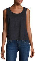 1 STATE 1.STATE Faux-Suede Fringe-Back Blouse, Rich Black
