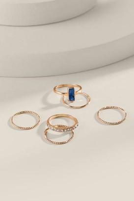 francesca's Brianna Druzy Ring Set - Light Blue
