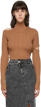 ANDERSSON BELL Brown Knit Slit Jessica Turtleneck