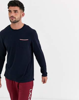 Lacoste Colours logo long sleeve t-shirt in navy