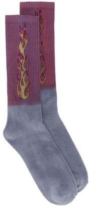 Palm Angels Two Tone Flames Socks