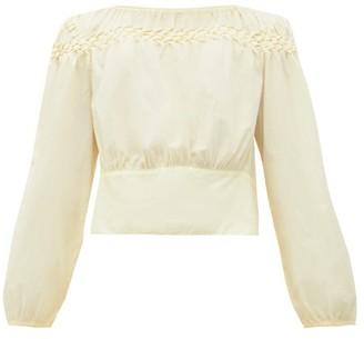 Merlette New York Soller Smocked Cotton-lawn Blouse - Womens - Light Yellow