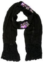 Anna Sui Black Crochet-Trimmed Scarf