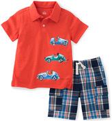 Kids Headquarters Red Car Polo & Blue Plaid Shorts - Boys