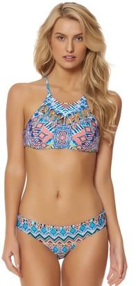 Red Carter Women's Beauty & The Beach Zig Zag Cut-Out High Neck Bikini Top