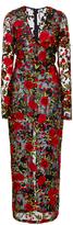 Naeem Khan Rose Embroidered Organza Sheath Dress