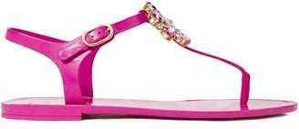 Dolce & Gabbana Leather-trimmed Embellished Rubber Sandals