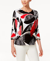 Alfred Dunner Petite Embellished Cotton Printed Sweater