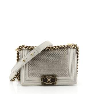 Chanel Boy Grey Leather Handbags