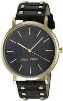 Nine West Women's NW/2056BKBK Gold-Tone and Black Strap Watch