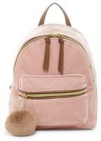 T-Shirt & Jeans Velvet Backpack with Pompom
