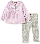 7 For All Mankind Baby Girls 12-24 Months Textured Woven Pintucked Top & Skinny Denim Pants Set